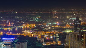 Night river bangkok main temple roof top panorama 4k time lapse thailand stock video footage