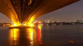 Night of river. Chaophaya river and phanangkhao bridge Royalty Free Stock Photography
