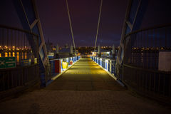 Night river ferry landing. Royalty Free Stock Photography