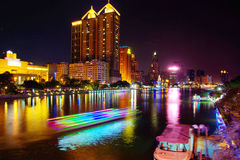 Night river in Kaohsiung, Taiwan Royalty Free Stock Photos