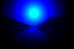 Night river lighting, magic moon light, Royalty Free Stock Image