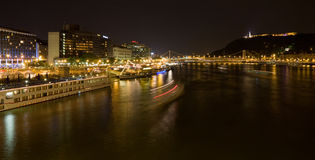 Night river panorama of budapest Stock Photos