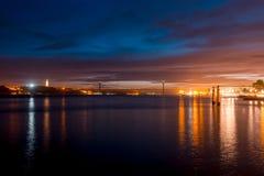 Night on river Tejo (Lisbon, Portugal) Royalty Free Stock Image