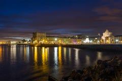 Night on river Tejo (Lisbon, Portugal) Stock Photos