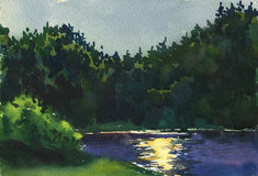 Night on the River. Watercolor image of the coast of the night river royalty free illustration