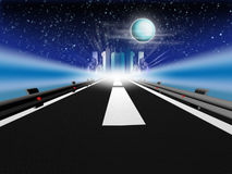 Night road. Illustration of road to the city. Night scene with full moon Royalty Free Stock Photo