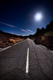 Night Road. Teide road in the middle of the night Royalty Free Stock Photos