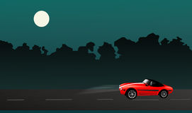 Night road. Car  illustration Royalty Free Stock Images