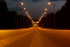 Night road. And lights abstract Royalty Free Stock Photo
