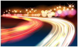 Night road. Abstract vector illustration of the road and night lights, symbolizing the movement and speed Royalty Free Stock Photos