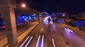 Night road in Bangkok Time Lapse. Night road traffic in Bangkok Thailand Time Lapse stock video footage