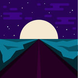 Night road and big moon. Abstract illustration for use in design Royalty Free Stock Images