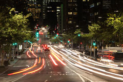 Night Road with Blurred Lights of Cars. Stock Photography