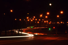 Night road. Road in the night city Royalty Free Stock Photo