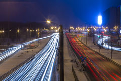Night road in the city with car the light trails Royalty Free Stock Photos