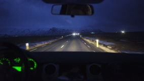 Night road driving. Night driving on narrow road to the mountains in search of new adventures stock footage