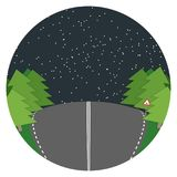 Night road flat landscape Vector Stock Photography