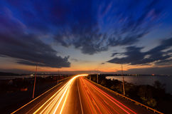 Night road - highway Royalty Free Stock Photos