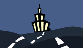 Night road illustration with cartoon building Royalty Free Stock Images