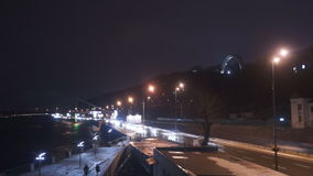 Night road light car move. The view of the city Evening-night time stock footage