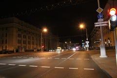 Night road in Minsk Stock Image