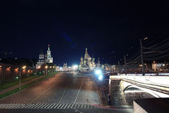 Night road in the Moscow. Kremlin Royalty Free Stock Photo