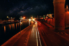 Night road in the Moscow. Kremlin Stock Photo