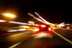 Night road. Motion blurred image Stock Photography