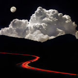 Night road in the mountains. In moonlight Stock Photos