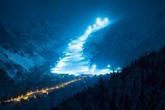 Night Road in mountains Royalty Free Stock Photos