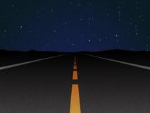 Night road. And nignt stars Royalty Free Stock Image