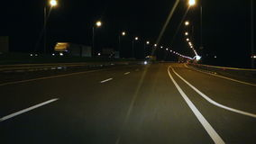 Night road ride from drivers point of view  hd stock footage
