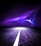 Night road. Sky with Flash. Royalty Free Stock Image
