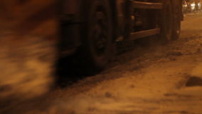 Night Road Snow Blade. Night interventions on streets of the snow plow truck. A snowplow (snow plow, snowplough or snow plough), is a device intended for stock footage