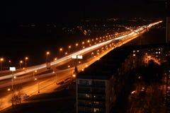 Night Road Through Bridge Stock Image