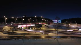 Night road, time-lapse. Night road in winter, time-lapse stock video footage