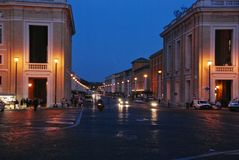 Night the road to the Vatican Stock Image