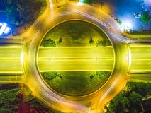 Abstract night drone photo of ring road ,maked with long exposure. Night road from top view ,aerial drone photo ,long exposure royalty free stock photography