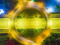 Night road from top view ,aerial drone photo ,long exposure stock images