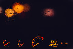 Night Road track and Cars headlights with rainy window Royalty Free Stock Images