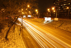 Night road traffic in Kyiv, Ukraine Stock Image
