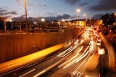 Night Road Traffic Lights, Jerusalem Royalty Free Stock Images
