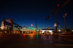 Night road and traffic lights in Las Vegas, USA Royalty Free Stock Photography