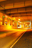 Night road under the bridge Royalty Free Stock Image