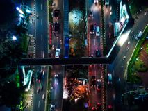 Night road view from drone. The photography of night shot of road from drone in high angle view royalty free stock photo