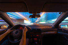 Night road view from inside car Royalty Free Stock Photos