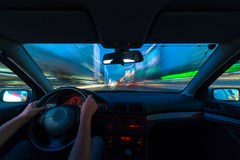 Night road view from inside car Stock Images