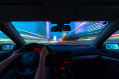 Night road view from inside car Stock Image