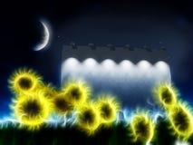 Night roadside billboard with sunflowers Stock Photos