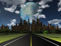 World of Future. Night roadway to future city. Terraformed moon in the sky. 3D rendering Stock Image